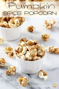 You will love this homemade caramelized popcorn made with pumpkin spice and drizzled with white chocolate