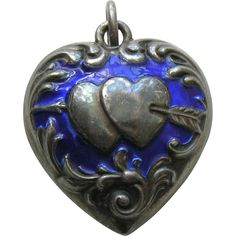 Antique Enameled Double Heart Arrow Puffy Large Double Sided Sterling Heart | Red Robin Antiques