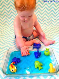 ell-O Ocean Sensory Play- great fun for baby!