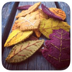 Fall leaves felt girls hair clips in fall colors by Sarahbellum in Chelan, WA