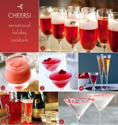Holiday cocktails with champagne, prosecco, and cranberry