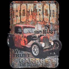 Shirt The Outlaw Hotrod Garage Genuine Rockabilly Kustom Car V8 Flathead Hot Rod
