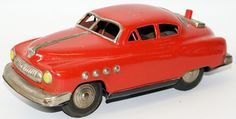 RARE Vintage Battery Operated 1950's Red Cadillac, by Marusan / Kosuge, Japan