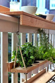 I love this idea for hanging plants on a small balcony. ! #smallbalcony #balconies #veranda