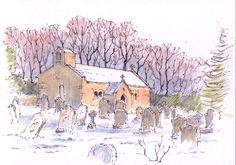 Church in the snow sketch ~ St. Leonard's church in the hamlet of Chapel-le-Dale ~ John Edwards