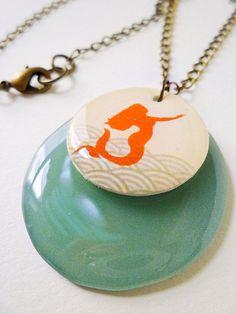 La Sirena (Mermaid) Necklace with dark seafoam green accent pendant