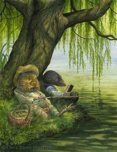 Chris Dunn (The Wind in the Willows by Kenneth Grahame) - Modern Weeping Willow, Willow Tree, Tree Illustration, Watercolor Illustration, Christmas Illustration, Chris Dunn, Fairytale Art, Tree Silhouette, Christmas Aesthetic