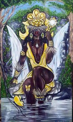 Cachoeira que nos ampara 💛 Na queda da mais bela cachoeira é onde encontro o encaixe perfeito para o corpo e alma. Com a serenidade no olhar, caminho tranquilamente em direção a suas águas e repouso na turbulenta calmaria cristalina das águas... African Mythology, African Goddess, Oshun Goddess, Goddess Art, Black Love Art, Black Girl Art, African American Artwork, African Art, Yoruba Religion