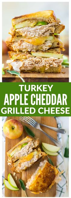 Turkey Cheddar Apple Grilled Cheese Sandwich. The best flavors of fall! Melty cheddar, sweet apple butter, granny smith apples, and healthy turkey make an amazing sweet and savory flavor combination that tastes like fall! Healthy comfort food that's perfect for fast lunches and easy family meals.