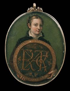 """Self-Portrait, 1556 of Sofonisba Anguissola, Praised by contemporaries as the foremost woman painter, Anguissola executed more self-portraits than any artist in the period between Dürer and Rembrandt. This miniature displays meticulous technique and Renaissance taste for puzzles: the letters at the center of the medallion form a monogram that has been satisfactorily explained. The rim, is inscribed in Latin: """"The maiden Sofonisba Anguissola, depicted by her own hand, from a mirror, at…"""