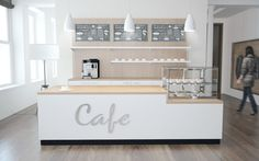 Cafe counter with cooling top and back buffet - Krug - Cafe Interior Design, Cafe Design, Cafeteria Retro, Cafe Counter, Cafe Concept, White Cafe, Cozy Cafe, Counter Design, Coffee Shop Design