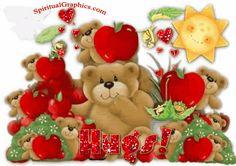 Hugs cute red glitter hugs apple teddy bear greeting graphic