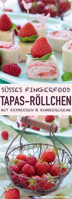 Sweet tapas rolls with strawberries & raspberry cream - emmikocht .-Süße Tapas Röllchen mit Erdbeeren & Himbeercreme – emmikochteinfach Sweet tapas rolls with strawberries and raspberry cream Creative Desserts, Desserts For A Crowd, No Cook Desserts, Best Dessert Recipes, Trifle Desserts, Party Desserts, Raspberry Cream Recipe, Butter Roll Recipe, Crema Fresca