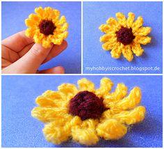Crochet Flowers Design My hobby is crochet: Small cone flower (Rudbeckia) FREE Pattern Cute Crochet, Beautiful Crochet, Crochet Crafts, Crochet Projects, Crochet Wreath, Crochet Bear, Small Sunflower, Crochet Sunflower, Sunflower Pattern
