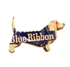 Pabst Blue Ribbon Beer PBR large BASSET HOUND  by PopCanCreations