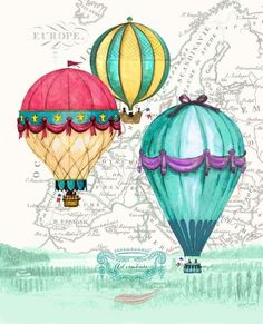 Vintage Air Balloon Adventure Canvas Art - Hope Smith x Air Ballon, Hot Air Balloon, Decoupage, Balloon Pictures, Balloon Illustration, Vintage Air, Painting Inspiration, Paper Art, Canvas Art