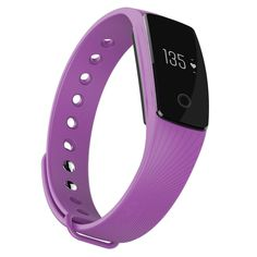 iMusi Bluetooth Wireless Fitness Trackers with Heart Rate Monitor Pedometers Sleep Monitor Activity Tracker - Purple. Touch screen / button switch function; Compatible: iOS7.1 / Android 4.4 or above with Bluetooth 4.0 sync. Function: RTC,Heart rate monitor,Step pedometer,Calorie burnt,Distance track,Sleep monitor,Call remind(caller name/caller ID),Sedentary Alert,SNS Alert,SMS Alert,Alarm remind,Anti-lost,Wrist Sense,Camera remote control,etc. See time, date, heart rate, calories, steps...