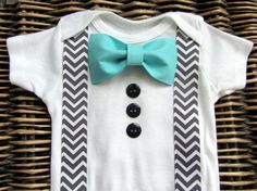 Baby Boy Clothes - Bow Tie Onesie - Baby Tuxedo Onesie - Boy Coming Home Outfit - Chevron Suspenders With Turqoise Blue Bow Tie - Infant Boy on Etsy, $18.99