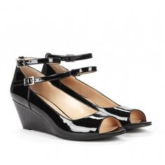 every woman should own a pair of black patent peep toe ankle strap shoes!