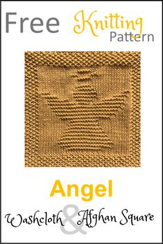 Knitted Squares Pattern, Knitted Dishcloth Patterns Free, Knitting Squares, Knitted Washcloths, Knit Dishcloth, Easy Knitting, Knitting Patterns Free, Christmas Knitting, Free Angel
