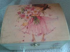 Hand Painted Wooden Box With vintage Details. by Tinascraftsforyou, Painted Wooden Boxes, Hand Painted, Unique Jewelry, Handmade Gifts, Stuff To Buy, Painting, Etsy, Vintage, Art