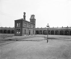 Locomotive running shed at Nine Elms, south London, 11 June 1902. The engine shed housed locomotives that operated on the London & South Western Railway. The sheds were arranged in a semi-circle around central turntables, and there were also repair facilities. Nine Elms was the home of the LSWR's works, which opened in 1839, but it closed in 1908 and was transferred to Eastleigh, close to Southampton. Nine Elms had also been the site of the first London terminus for the L&SWR, but it was…