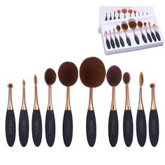 10 Pieces Oval Makeup Brush Set Professional Contour Soft Toothbrush with Shaped Design for Powder BB Cream Rose Gold >>> Check this awesome image  : Makeup lips