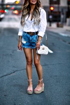7fe63fdef815 ... White Button-Down Similar Denim Shorts Gucci Belt White Bralette Gucci  Marmont Bag BaubleBar Layered Necklace Chloe Wedges Celine Sunglasses June  2017 ...