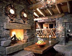Small hearth room in the Log home built by Montana/Idaho Log Homes, Victor, Montana