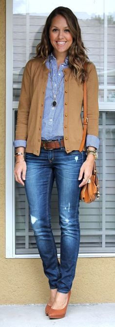 button down, cardigan, jeans, + pumps combo - definitely a smart casual look if you lose the distressed denim | Skirt the Ceiling | skirttheceiling.com