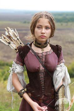 """Archeress"" Dress - medieval dress renaissance for fairs, cosplay Medieval Costume, Medieval Dress, Renaissance Costume, Renaissance Fairy, Fantasy Costumes, Cosplay Costumes, Halloween Costumes, Fairy Costumes, Moda Medieval"