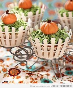 Decorate a cupcake with fences (you can make or buy at Michaels, Wilton's..add frosting for the grass and a sugar pumpkin you can buy at the store.