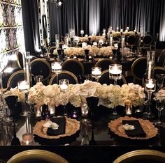 """""""Pinch me happy, i'm in love ? Classic black and gold with ivory floral cen. """"Pinch me happy, i'm in love ? Classic black and gold with ivory floral centerpieces via Wedding Goals, Wedding Themes, Wedding Colors, Wedding Planning, Dream Wedding, Wedding Day, Wedding Reception, Gatsby Wedding, Ivory Wedding"""
