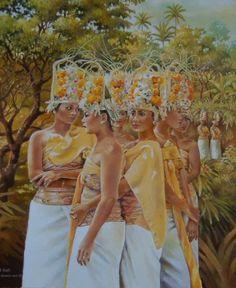 Modern: Ik vind dit kunst omdat ik het een heel mooi schilderij vind. Ik vind de kleuren mooi, de vrouwen en hoe het is geschilderd. Het doet me denken aan Indonesie en geeft me een fijn gevoel