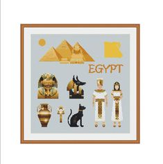 Cross stitch, Cairo, Egyptian art, Egyptian pyramid, Sphinx, Egyptian cat, Egyptian mask, King tut, Tutankhamun, Egyptian eye, Egyptian god