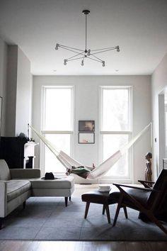 indoor hammock white hammock in gray living room