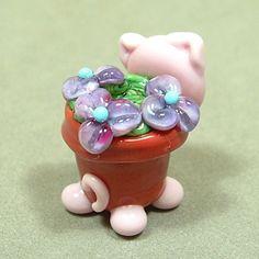 FLOWER POT BELLIED Pig Handmade Focal Lampwork Glass Bead sra Gelly