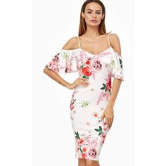 Sexy Floral Print Flouncing Backless Cami Dress For Women ($1) ❤ liked on Polyvore featuring ruffle cami, floral print cami, sexy camisole, sexy cami and white cami