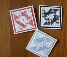 Quilted cards - quilted tags by Carolynn ... note card set ... each card and different monochromatic color with the smae pinwheet patch pattern ...