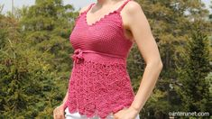 Crochet a women's strappy summer top with braided straps and the belt