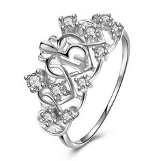 White Gold Plated 925 Sterling Silver Sweet 15 Quinceanera Ring
