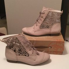 """in box La Tigre Pastel Lace Boots Size 9- color is a soft pastel, almost a taupey grey with a hint of lavender or mauve. 1/2"""" wood heel, embroidered lace cut outs. Super super cute with distressed Jean shorts and a crop tank top!!! La tigre Shoes Lace Up Boots"""