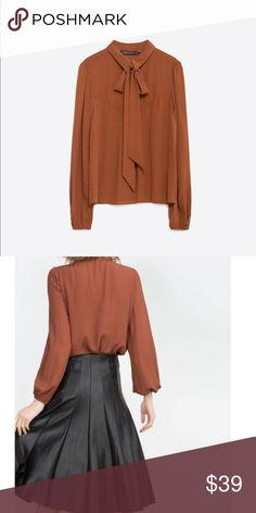 Zara Flowing Blouse New with tags. Zara flowing blouse in brown Zara Tops Blouses