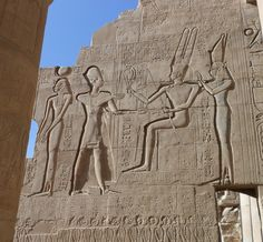 Section from the Great Temple ofRamses II, showing him and the gods,19th Dynasty.