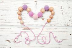 Items similar to Nursing necklace Teething necklace Baby nursing toy Necklace for mom Juniper Wood Organic cotton Purple Pink on Etsy Nursing Necklace, Teething Necklace, Beaded Necklace, Beaded Bracelets, Trending Outfits, Unique Jewelry, Handmade Gifts, Toy, Classic