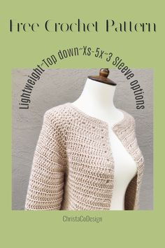 Crochet cardigan pattern worked top down. Lightweight and perfect for Spring. Sizes with 3 sleeve options. Crochet Fall, Crochet Woman, Free Crochet, Knit Crochet, Crochet Sweaters, Crochet Tops, Crochet Cardigan Pattern, Crochet Jacket, Crochet Patterns