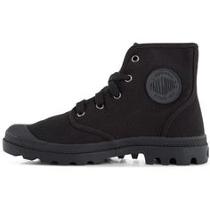 Palladium Women's Pampa Hi Boot (2.355 RUB) ❤ liked on Polyvore featuring shoes, boots, black boots, palladium shoes, palladium footwear, palladium boots and black shoes