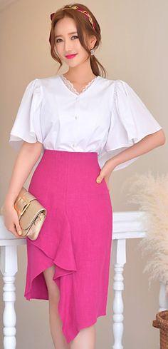 StyleOnme_Asymmetrical Tulip Hem Linen Skirt #hotpink #spring #summer #skirt #feminine #koreanfashion #kstyle #kfashion #seoul