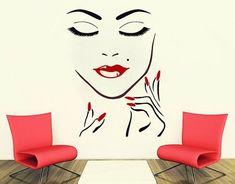 Decoración de pared calcomanías belleza salón chica cara mano manicura uñas  labios largo pestañas Closeup maquillaje 8e286da2b7e3