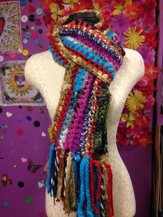 Crochet Scrap Scarf  Rainbow Sparkle by craftychica on Etsy, $40.00